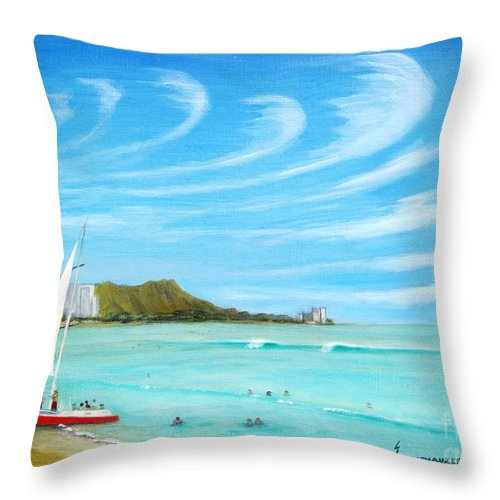 Waikiki Throw Pillow featuring the painting Waikiki by Jerome Stumphauzer