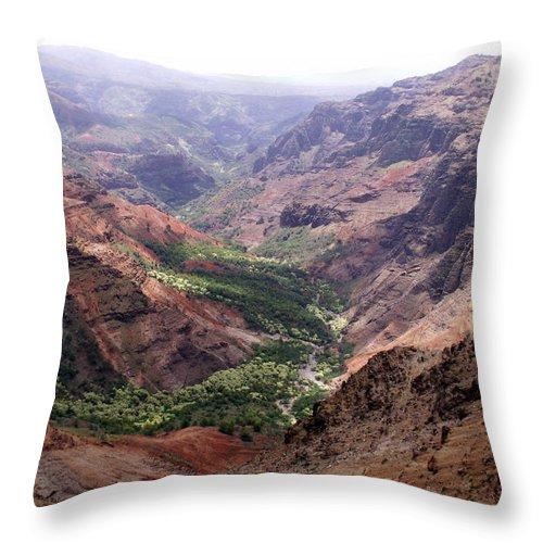 Waimea Throw Pillow featuring the photograph Waimea Canyon 1 by Amy Fose