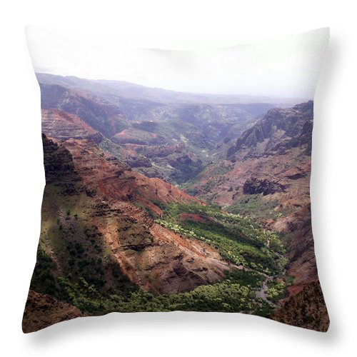 Waimea Throw Pillow featuring the photograph Waimea Canyon 2 by Amy Fose
