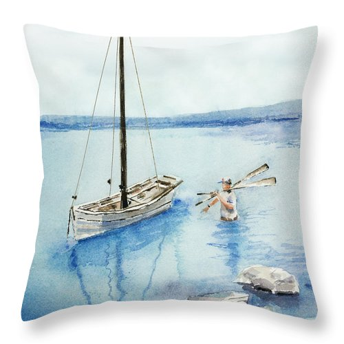 Boat Throw Pillow featuring the painting Waist Deep by Arline Wagner