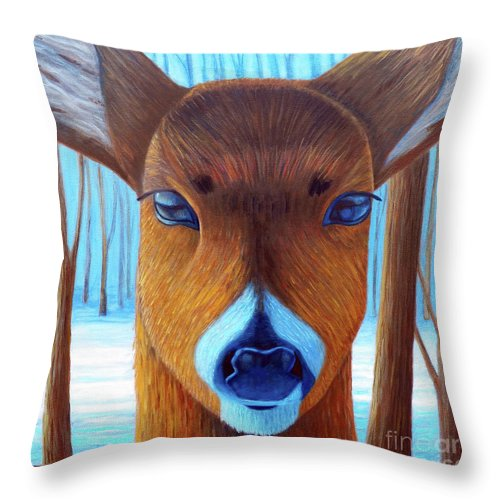 Deer Throw Pillow featuring the painting Wait For The Magic by Brian Commerford