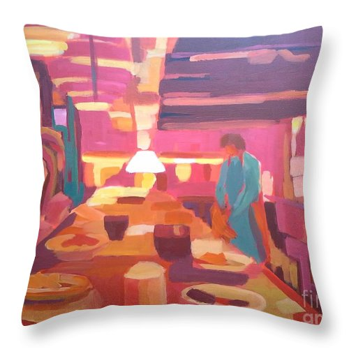 Restaurant Throw Pillow featuring the painting Waiter by Nelya Pinchuk