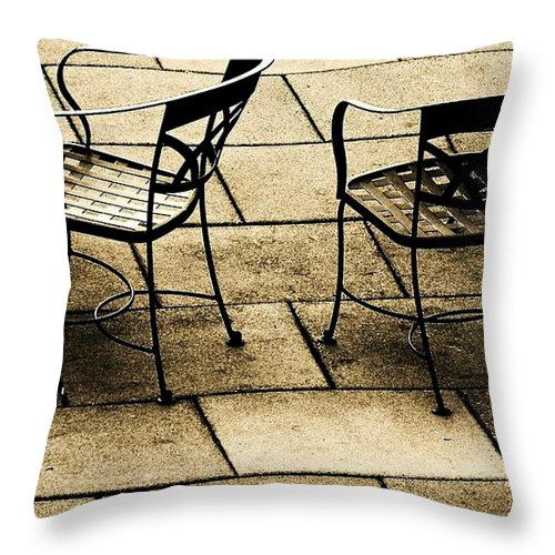 Chairs Throw Pillow featuring the photograph Waiting by Anne McDonald