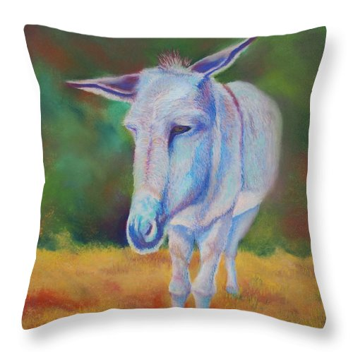 Donkey Throw Pillow featuring the painting Waiting by Brent Ciccone