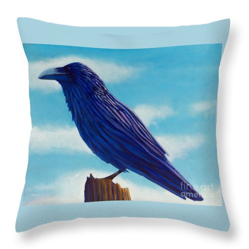Raven Throw Pillow featuring the painting Waiting by Brian Commerford