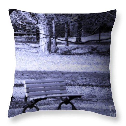 Bench Throw Pillow featuring the photograph Waiting by Cathy Beharriell