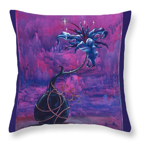 Lily Throw Pillow featuring the painting Waiting Flower by Jennifer McDuffie