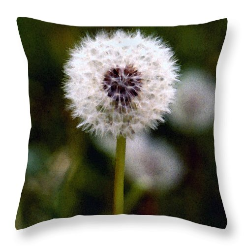 Dandelion Throw Pillow featuring the painting Waiting For A Breeze by Paul Sachtleben