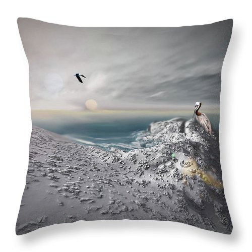 Ocean Throw Pillow featuring the digital art Waiting For A Mate by Julie Grace