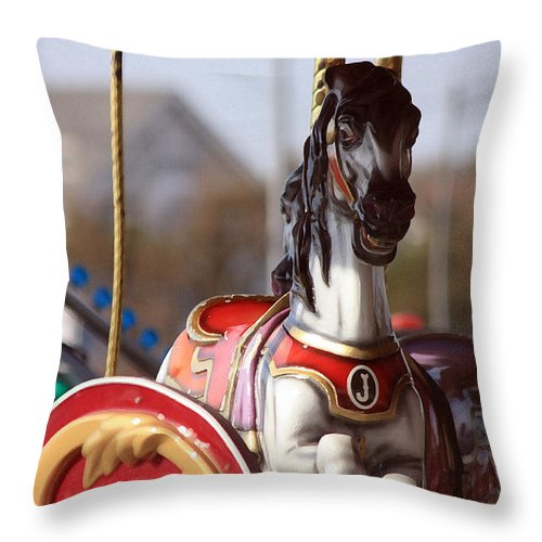 Carousel Throw Pillow featuring the photograph Waiting For A Rider by Mary Haber