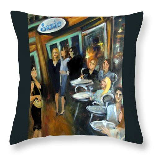 Sidewalk Cafe Throw Pillow featuring the painting Waiting For A Table by Valerie Vescovi