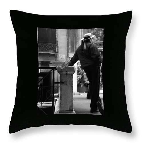 Venice Throw Pillow featuring the photograph Waiting For Business by Donna Corless
