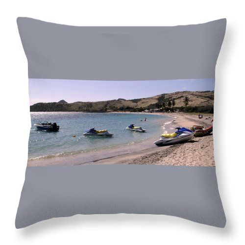 Beach Throw Pillow featuring the photograph Waiting For Customers by Ian MacDonald