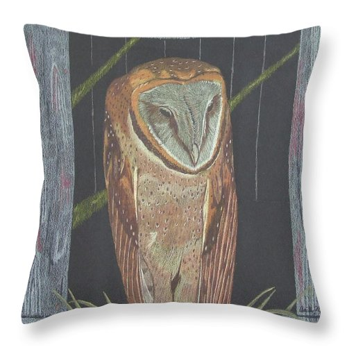 Owl Throw Pillow featuring the painting Waiting For Dusk by Anita Putman