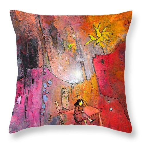 Acrylics Throw Pillow featuring the painting Waiting For Godot by Miki De Goodaboom