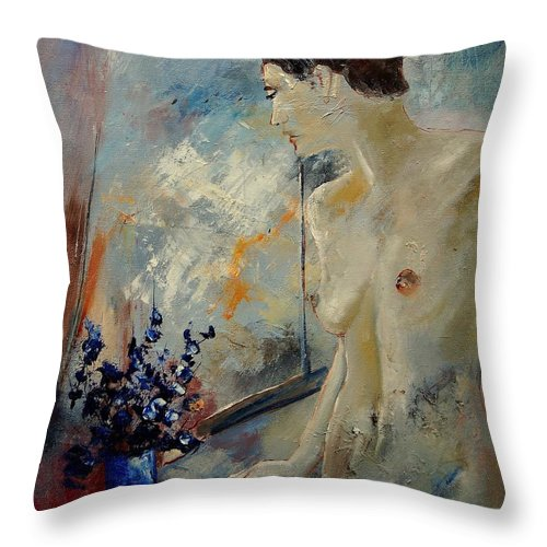 Girl Throw Pillow featuring the painting Waiting For Her Lover by Pol Ledent
