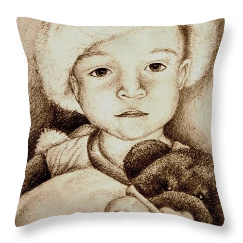 Santa Throw Pillow featuring the drawing Waiting For Santa by Melissa Wiater Chaney