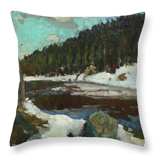 Plein Air Throw Pillow featuring the painting Waiting For Spring by Juliya Zhukova