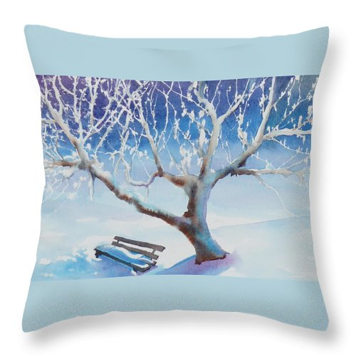 Snow Throw Pillow featuring the painting Waiting For Spring by Ruth Kamenev