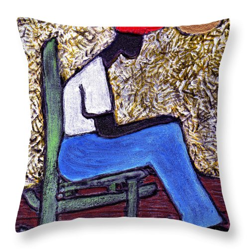 Black Art Throw Pillow featuring the painting Waiting For The Dream by Wayne Potrafka
