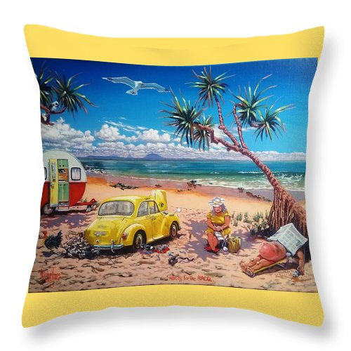 Autoclub Throw Pillow featuring the painting Waiting For The Racq by Michael Jones