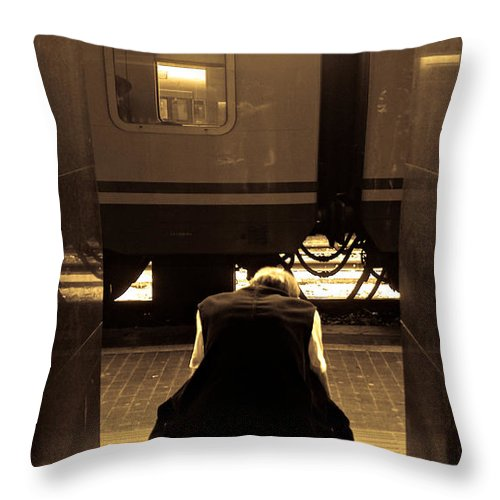 Train Throw Pillow featuring the photograph Waiting For The Train by Scott Sawyer