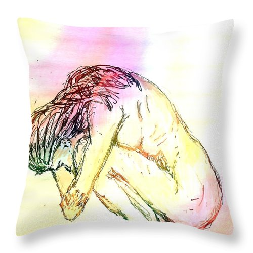 Lady Throw Pillow featuring the digital art Waiting For The Wounds To Heal by Shelley Jones