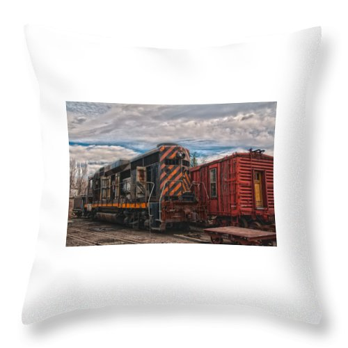 Train Throw Pillow featuring the photograph Waiting For Work by Michael Connor