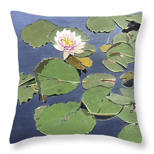 Recycled Throw Pillow featuring the painting Waiting Lotus by Leah Tomaino