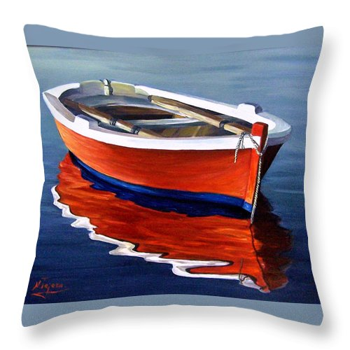 Seascape Water Boat Reflection Ocean Sea Throw Pillow featuring the painting Waiting by Natalia Tejera