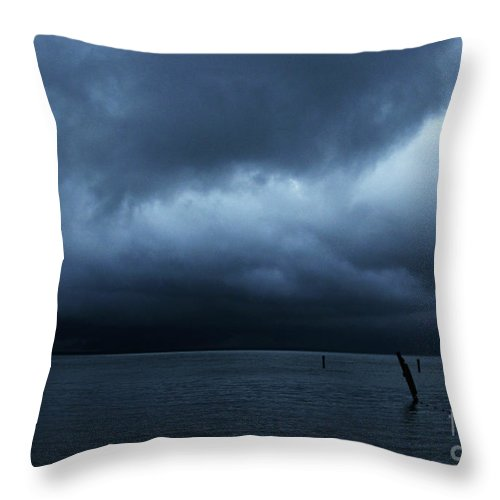 Lake Throw Pillow featuring the photograph Waiting Out The Storm by Linda Shafer
