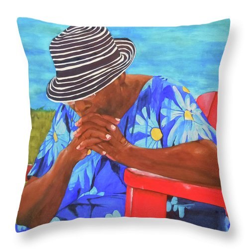 Caribbean Throw Pillow featuring the painting Waiting Patiently by Jean Blackmer