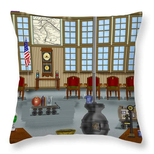 Realism Throw Pillow featuring the painting Waiting Room at the Depot by Anne Norskog