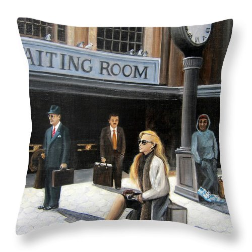 People Throw Pillow featuring the painting Waiting Room by Leonardo Ruggieri