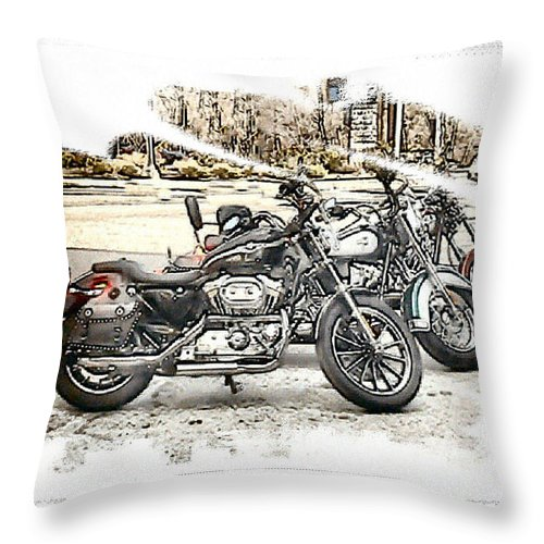 Motorcycles Throw Pillow featuring the photograph Waiting by Rose Guay