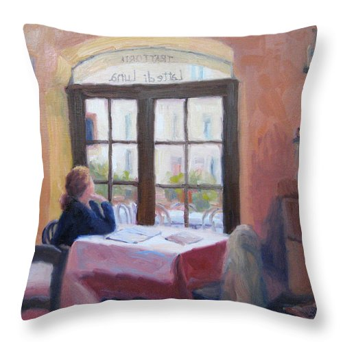 Interior Throw Pillow featuring the painting Waiting Wistfully by Bunny Oliver