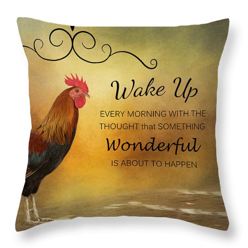 Rooster Throw Pillow featuring the photograph Wake Up by Kim Hojnacki