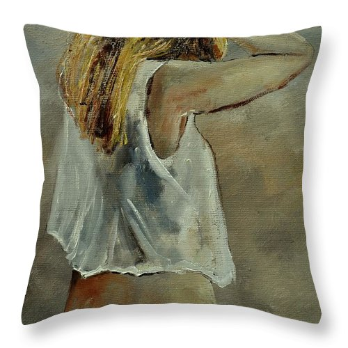 Nude Throw Pillow featuring the painting Wake Up by Pol Ledent