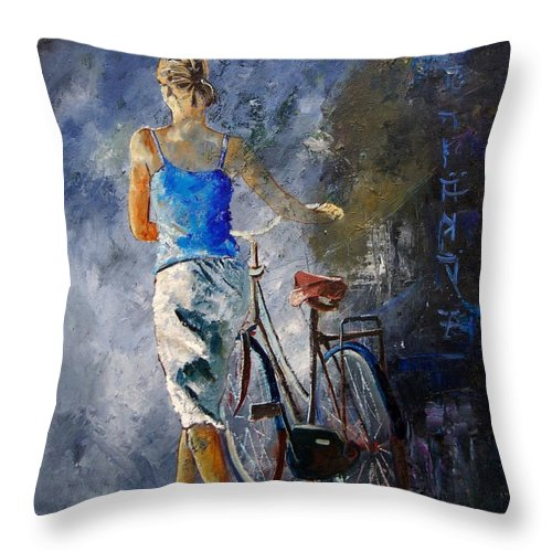 Girl Throw Pillow featuring the painting Waking Aside Her Bike 68 by Pol Ledent