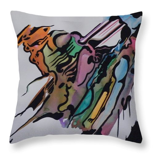 Abstract Throw Pillow featuring the mixed media Waking Up by Andrea Inostroza