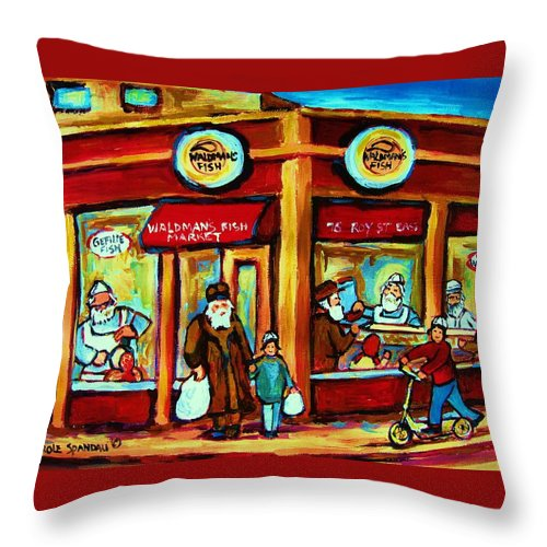 Montreal Throw Pillow featuring the painting Waldmans In Montreal by Carole Spandau
