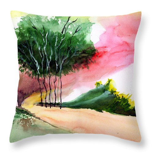 Watercolor Throw Pillow featuring the painting Walk Away by Anil Nene