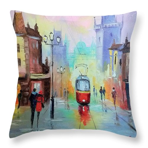 Walk In Prague Throw Pillow featuring the painting Walk In Prague by Olha Darchuk