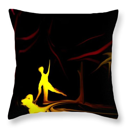 Abstract Digital Painting Throw Pillow featuring the digital art Walk In The Dog Park by David Lane