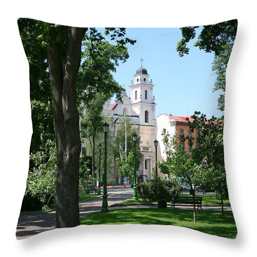 Park City Tree Trees Flowers Church Building Summer Blue Sky Green Walk Bench Throw Pillow featuring the photograph Walk In The Park by Andrei Shliakhau