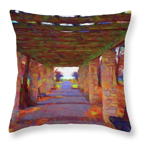 Autumn Throw Pillow featuring the painting Walk In The Park by Jeffrey Kolker