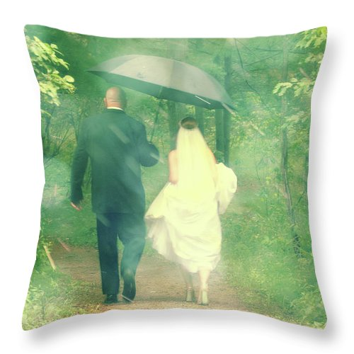 Walking Throw Pillow featuring the photograph Walk In The Rain by Joel Witmeyer