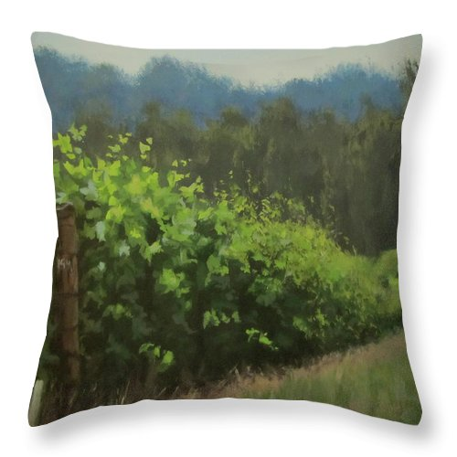 Landscape Throw Pillow featuring the painting Walk In The Vineyard by Karen Ilari