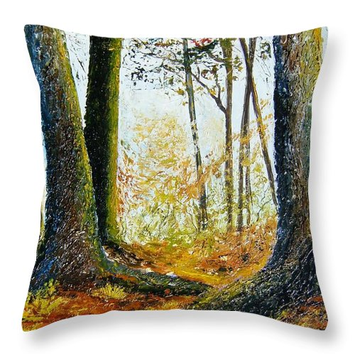 Landscape Throw Pillow featuring the painting Walk In The Woods by Tami Booher