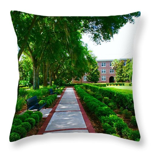 Walking Fsu Throw Pillow featuring the photograph Walk To The Dorm by Bennett Thompson